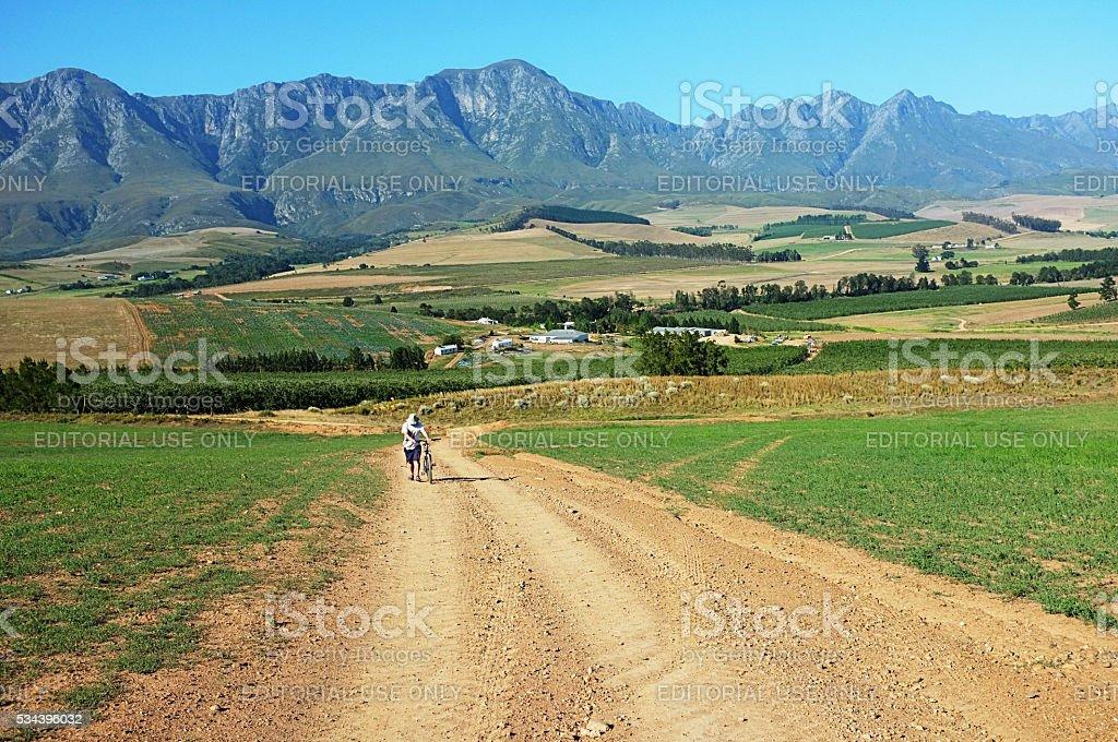 Man pushing bike near Caledon in South Africa's Western Cape stock photo