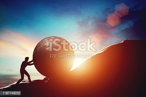 Man pushing huge concrete ball up hill. Sisyphus metaphor. Sisyphean work, big challenge concept. 3D illustration