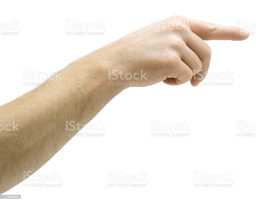 Man Pushing Invisible Button royalty-free stock photo