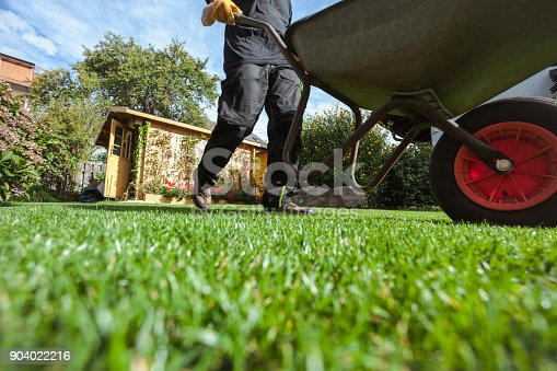 Man pushing wheelbarrow over green grass in backyard; low angle view; obscured face; real people;
