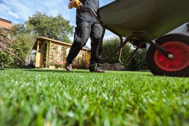 hombre empuja carretilla sobre hierba - jardinería fotografías e imágenes de stock