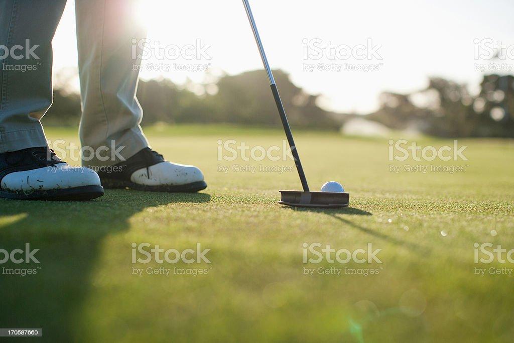 Man putting golf ball stock photo