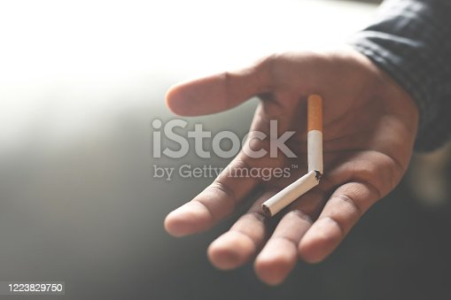 1152920014 istock photo Man quit smoking is good for health. 1223829750