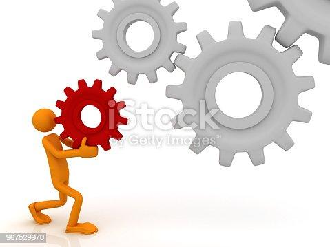 istock Man raises a gear 967529970