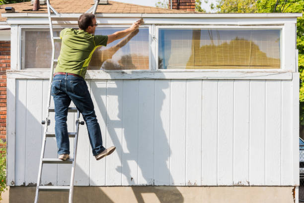 man bereiken om te schilderen van witte trim op de ladder - ladder stockfoto's en -beelden