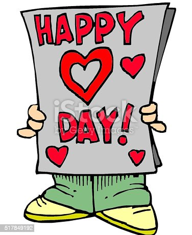 istock Man read news in newspaper about Holiday St. Valentines Day 517849192