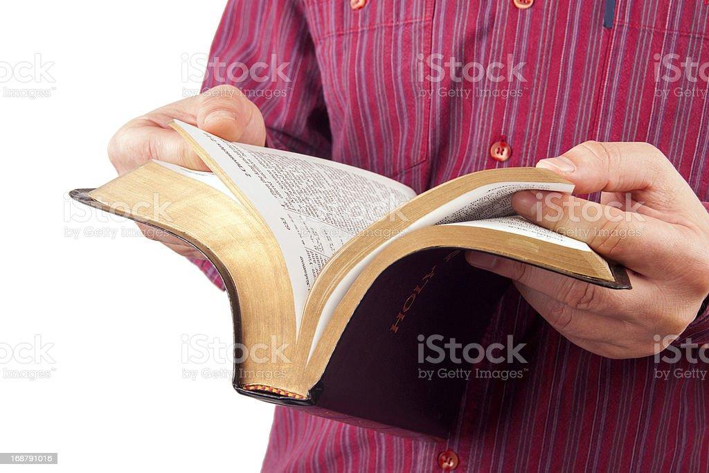 Man reading a bible royalty-free stock photo
