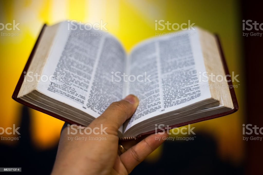A man  Reading  bible. stock photo