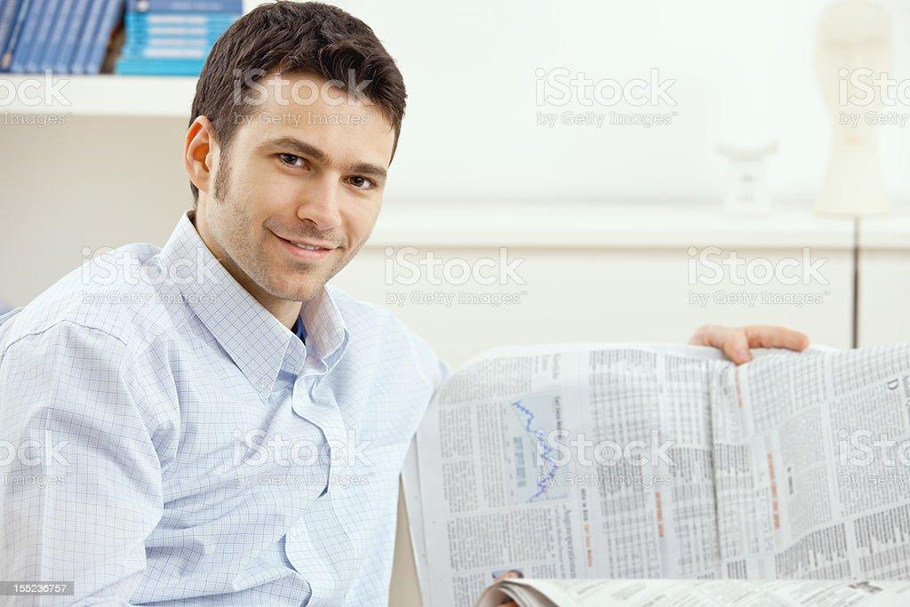 Man reading business news royalty-free stock photo