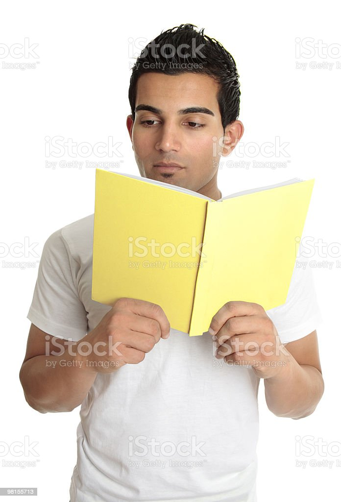 Man reading from a book royalty-free stock photo