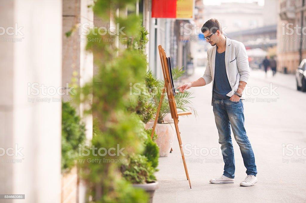 Man Reading Menu stock photo
