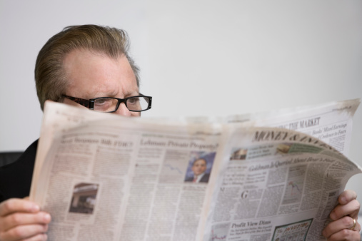 Man Reading Newspaper Stock Photo - Download Image Now