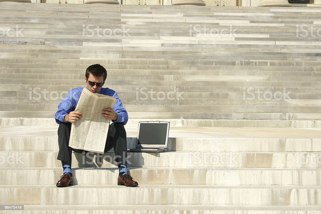 Man Reading Newspaper royalty-free stock photo