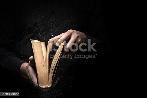 Man reads a book high quality and high resolution studio shoot