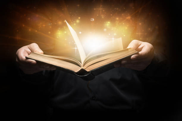 Man reads a book stock photo