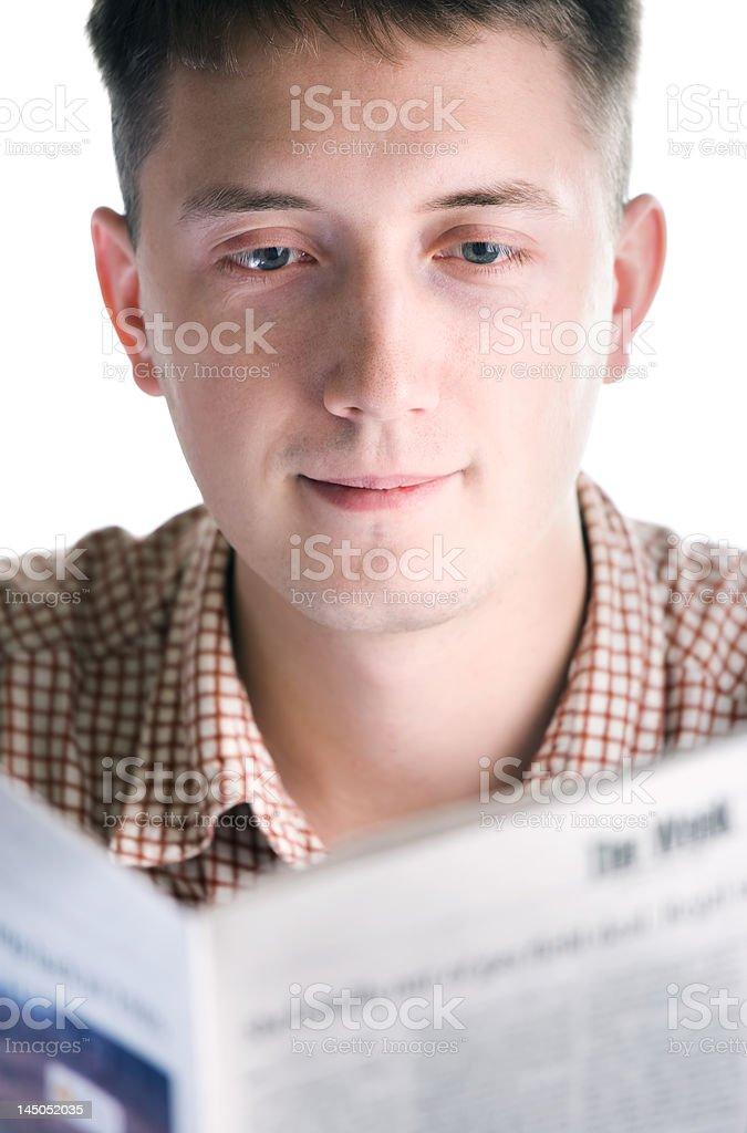 Man reads newspaper royalty-free stock photo