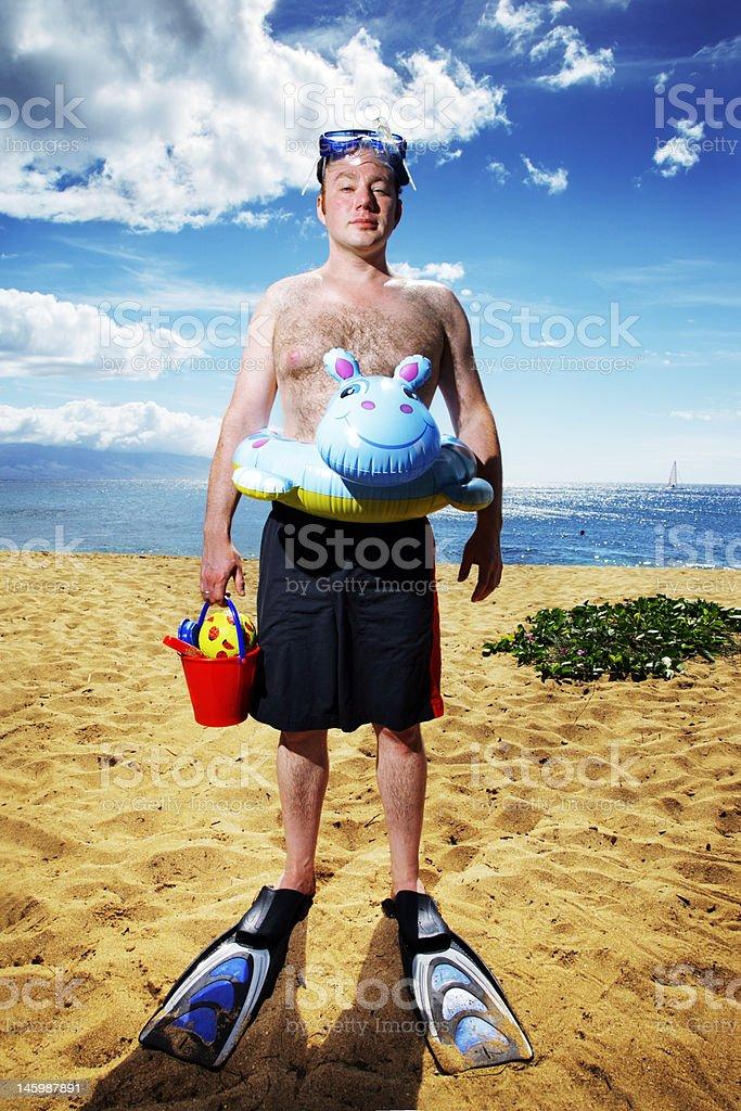 Man ready for fun at sunny tropical beach royalty-free stock photo