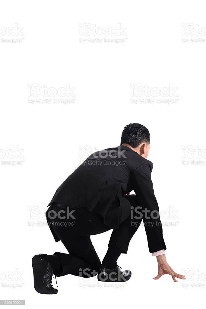Man ready to run stock photo
