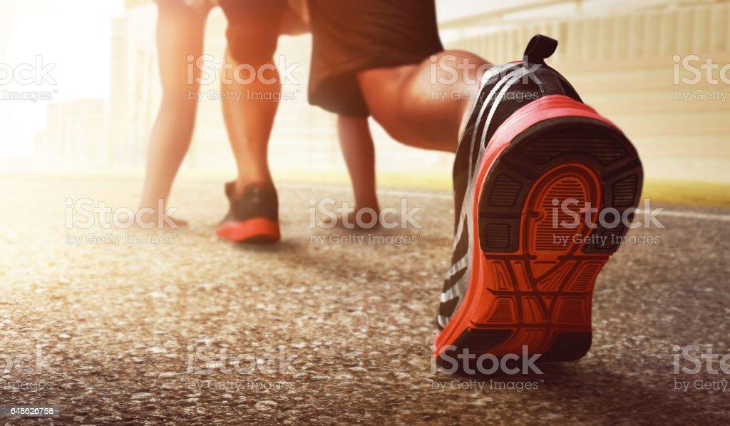 Man ready to run stock photo