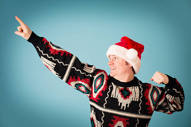 Man Rearing to Go, Wearing Santa Hat and Ugly Sweater