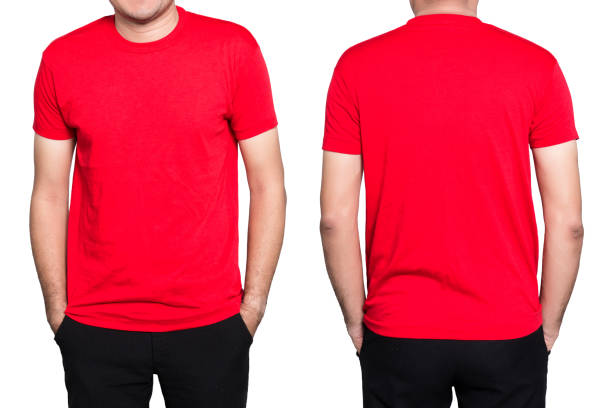Man red t-shirt Handsome  man in a blank red t-shirt  isolated on white background. red shirt stock pictures, royalty-free photos & images