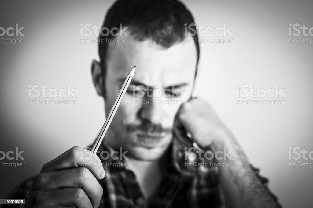 Man reflects for inspiration , big  idea . stock photo