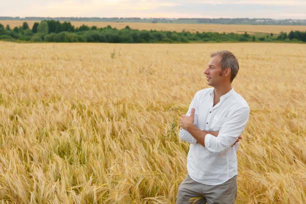 Mann auf Sommer Weizenfeld, Schönheit der Natur entspannen – Foto