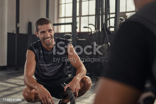 istock Man relaxing after battle rope exercise 1149241494