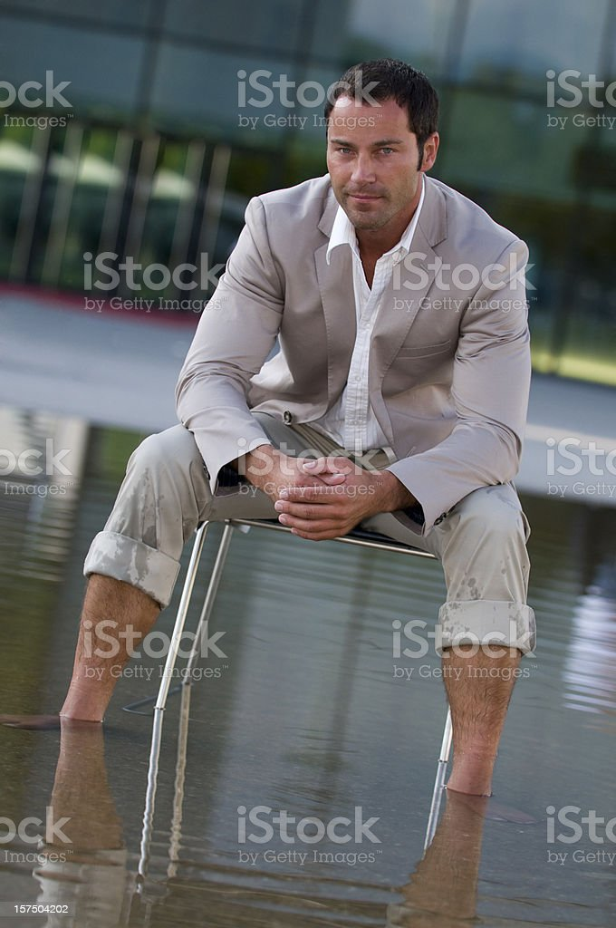 man relaxing at water royalty-free stock photo