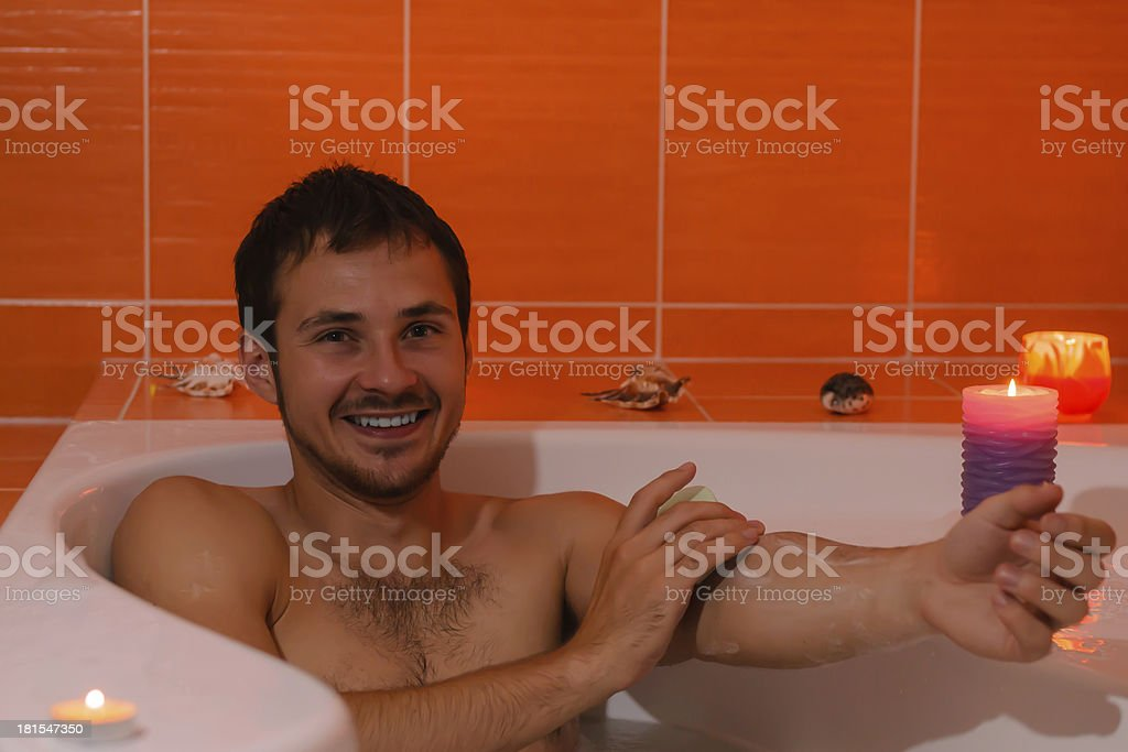Man relaxing bathing. royalty-free stock photo