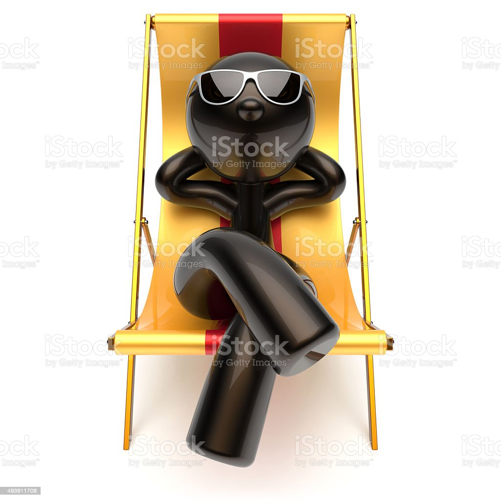 Man relaxing chilling beach deck chair carefree sunburn icon stock photo