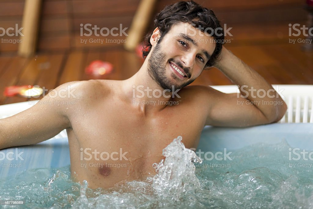 Man relaxing in a beauty farm stock photo