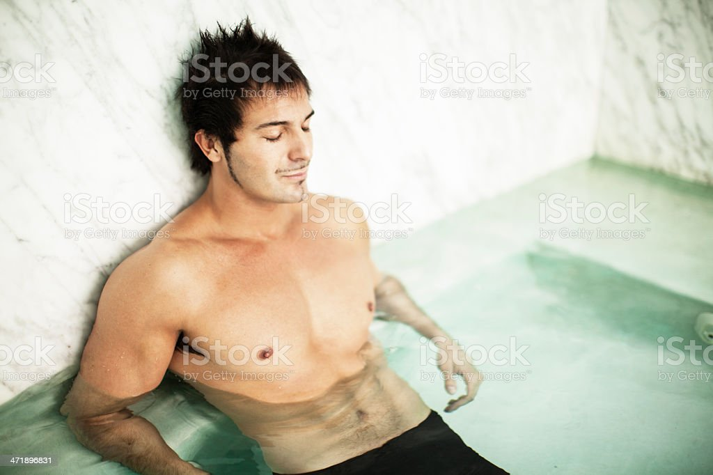 Man Relaxing in Spa royalty-free stock photo