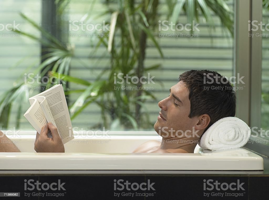 Man relaxing in the bath royalty-free stock photo