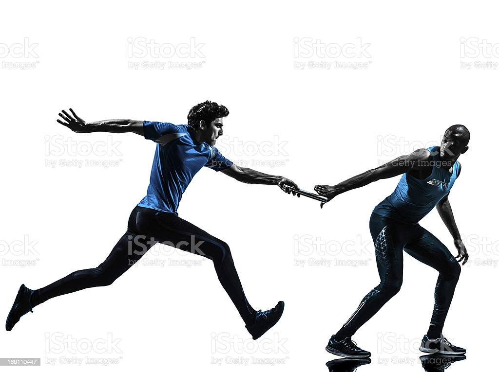 man relay runner sprinter silhouette stock photo