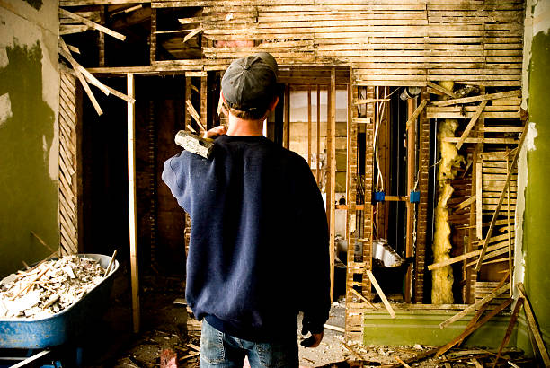 Man Remodeling a Home stock photo