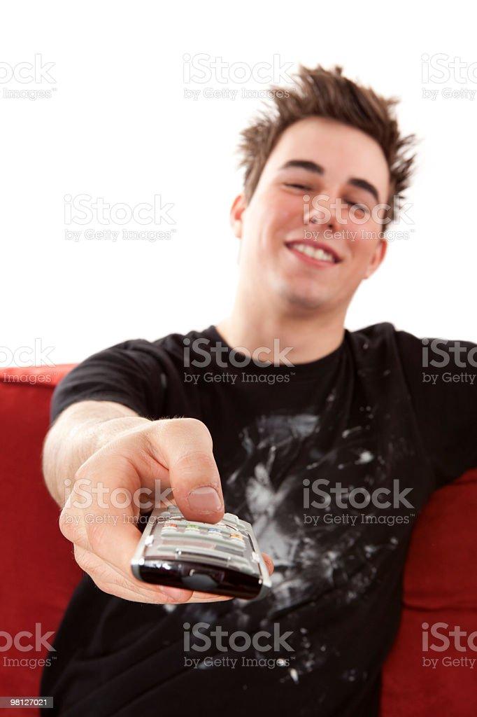 Man remote control royalty-free stock photo