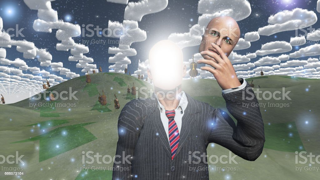 Man removes face showing lightn in landscape with question shaped clouds stock photo