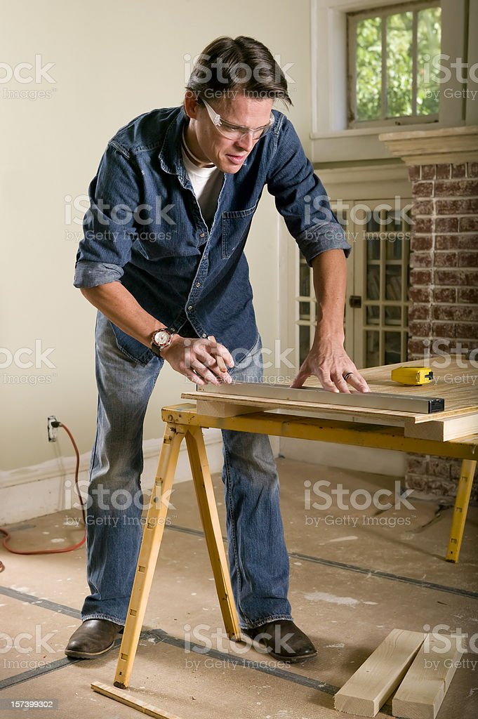 Man renovating his home interior royalty-free stock photo