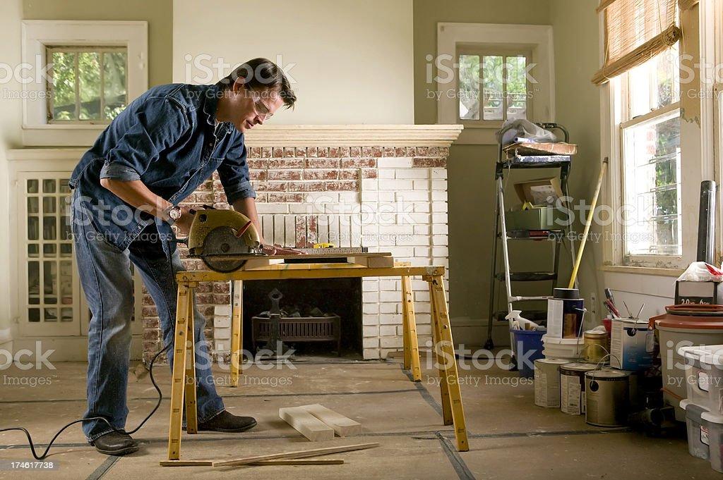Man renovating home interior stock photo