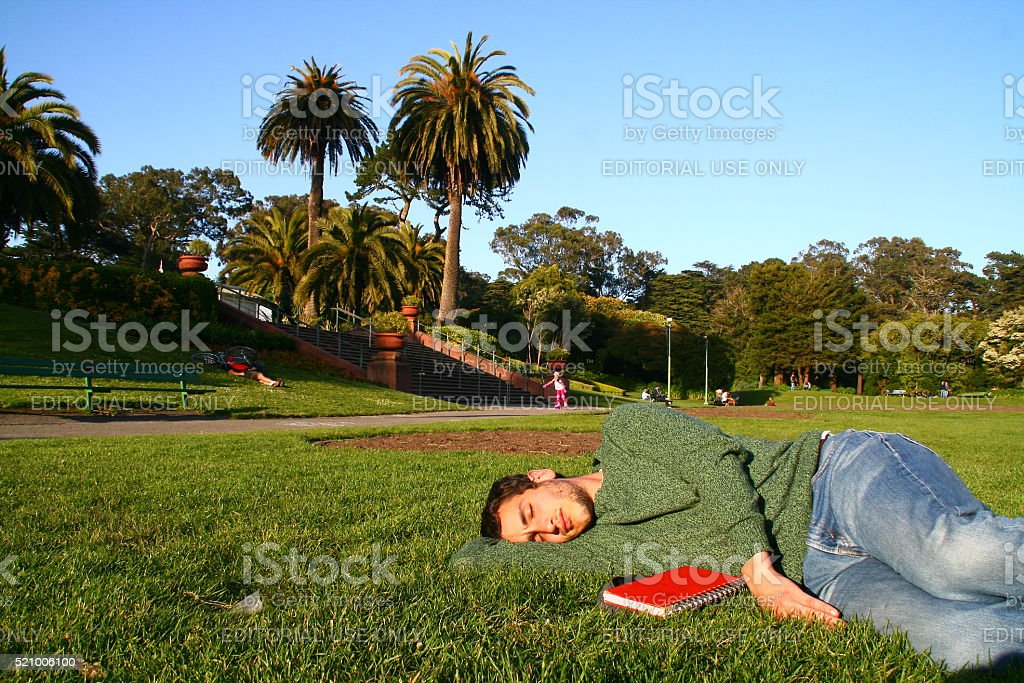 Man Resting in Golden Gate Park stock photo
