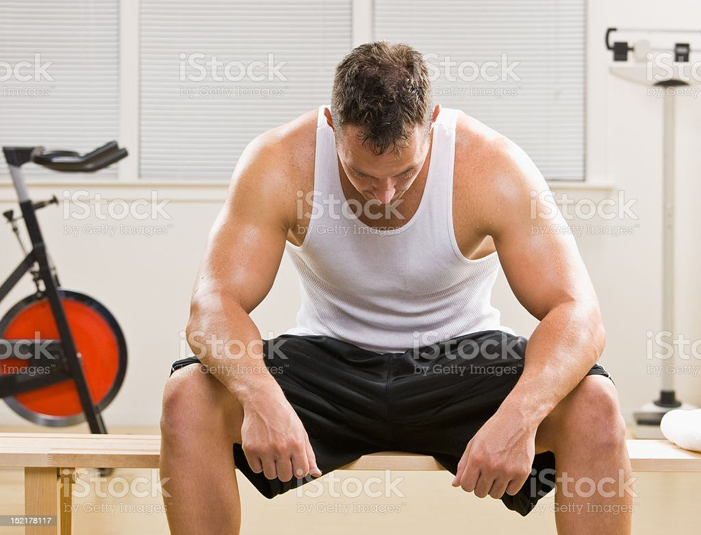 Man resting in health club royalty-free stock photo