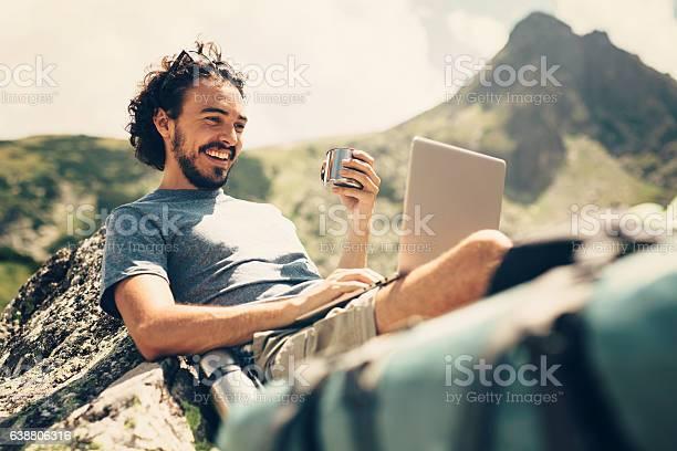 Man resting in the mountain picture id638806316?b=1&k=6&m=638806316&s=612x612&h=ardl4raqg pqlapazleeqjbbrjxrhkdk5ynq ae4fha=