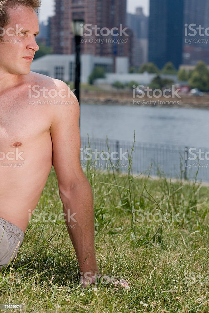 A man resting royalty-free stock photo