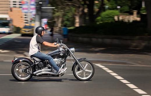 Man riding a Harley Davidson in Sydney