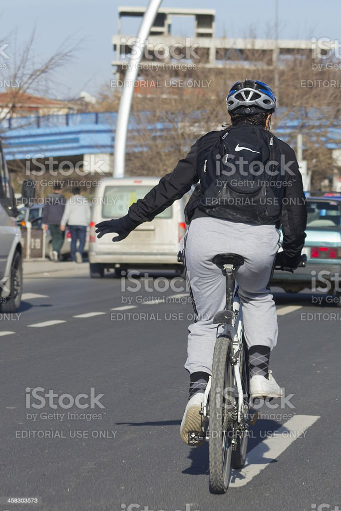 Man riding bicycle at Ankara City stock photo