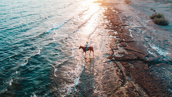 Man riding on horse on the beach over sunset aerial view