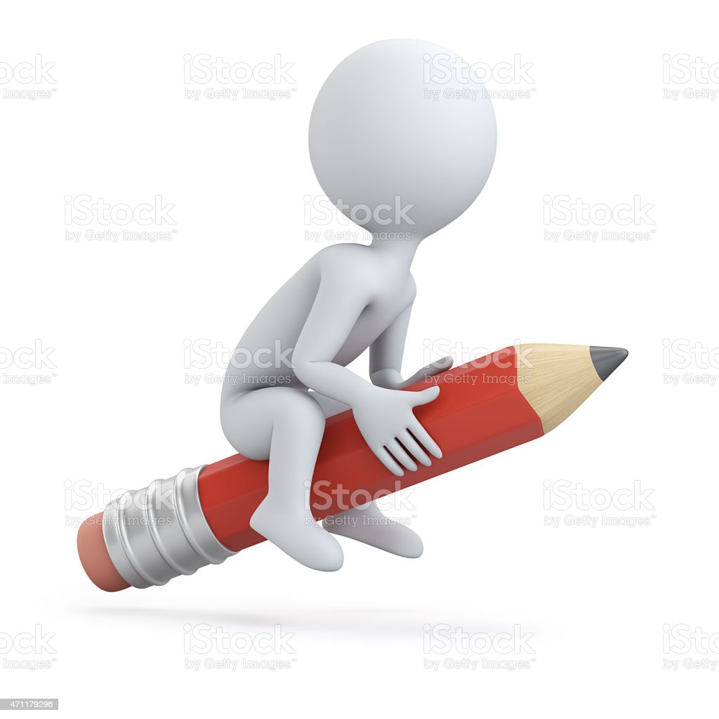 3D man riding on pencil stock photo