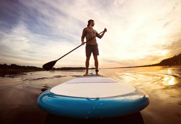 Man Riding Paddleboard on Puget Sound At Sunset stock photo