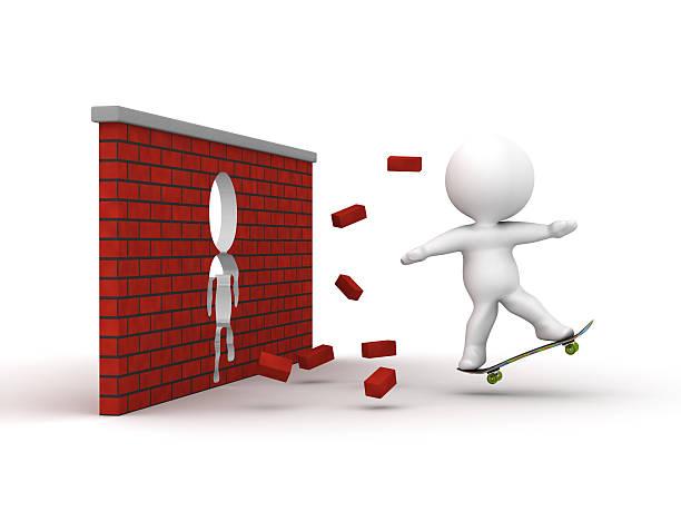 3D Man riding skateboard through brick wall stock photo